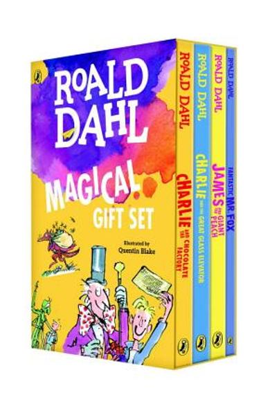Roald Dahl Magical Gift Set (4 Books): Charlie and the Chocolate Factory, James and the Giant Peach, Fantastic Mr. Fox, Charlie and the Great Glass El - Roald Dahl