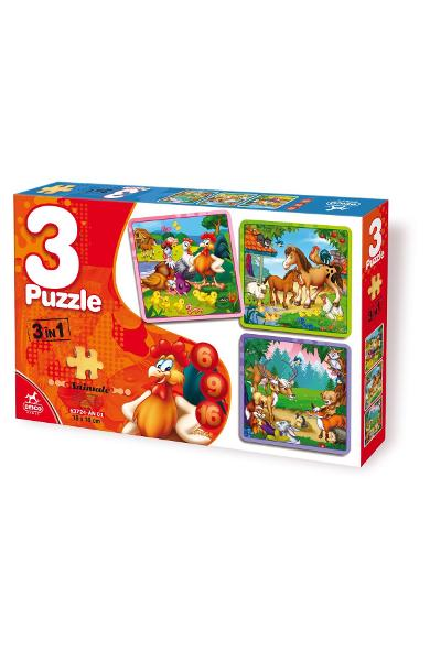 3 in 1 Puzzle: Animale