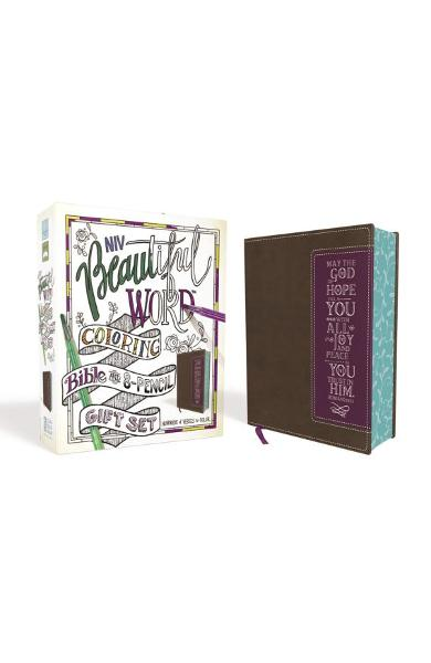 Niv, Beautiful Word Coloring Bible and 8-Pencil Gift Set, Leathersoft, Brown: Hundreds of Verses to Color - Zondervan