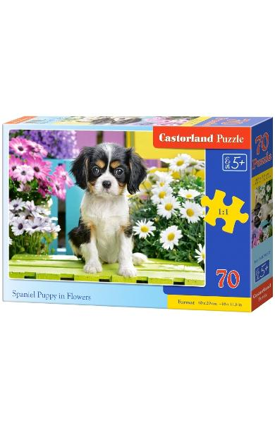 Puzzle 70. Spaniel Puppy in Flowers
