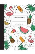 Pink Flamingo with pineapple in summer them - Graph Paper Notebook: Ice Cream and Leaf in cover Composition Notebook,8.15 x 11 Inch,110 page - Unlimited Plan Journal