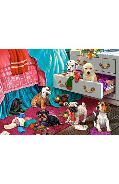 Puzzle 300. Puppies in Bedroom