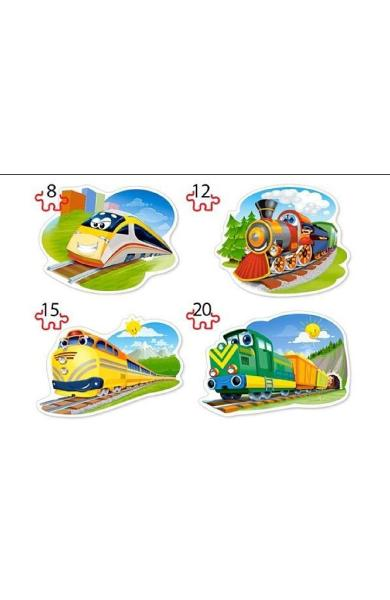 Puzzle 4 in 1. Funny trains