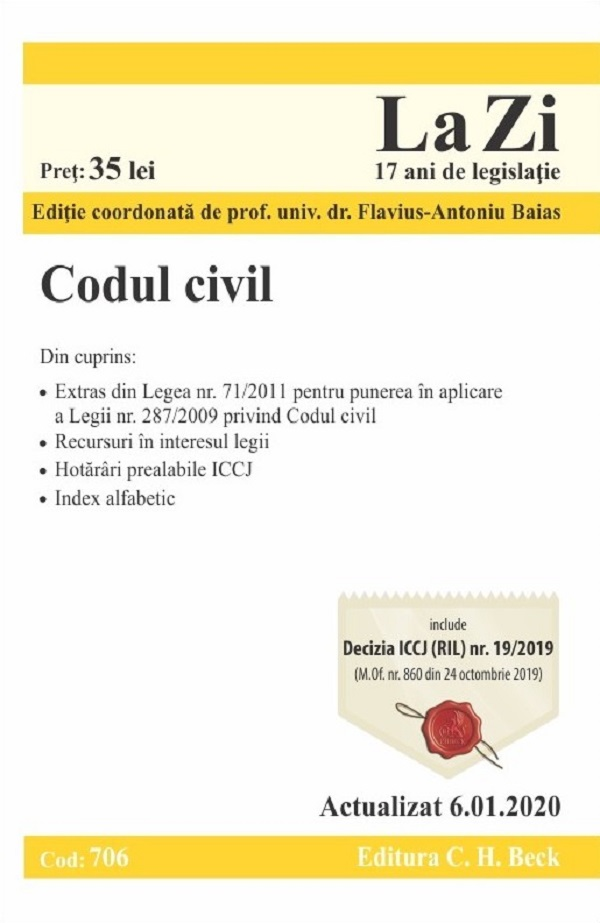 Codul civil. Act. 6.01.2020