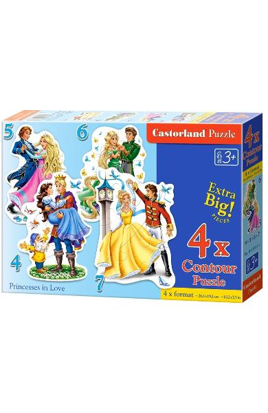 Puzzle 4 in 1. Princesses in Love