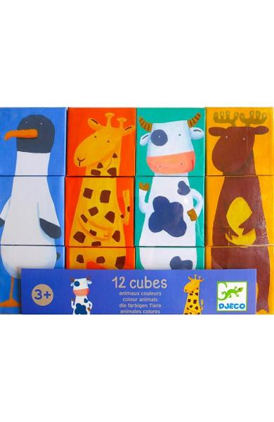 12 Cubes, Animaux couleurs. Cuburi animale