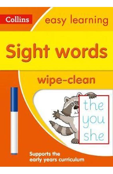 Sight Words Age 3-5 Wipe Clean Activity Book -