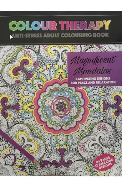 Colour Therapy: Magnificent Mandalas - Carte de colorat pentru adulti