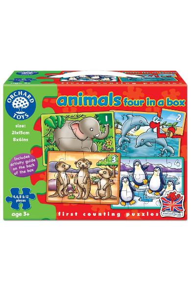 Animals, Four in a box. Set 4 puzzle-uri, Animale