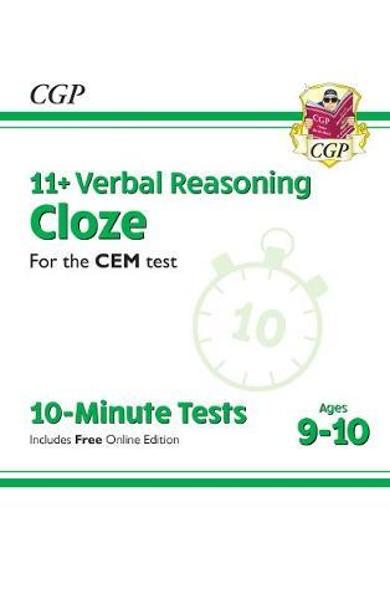 New 11+ CEM 10-Minute Tests: Verbal Reasoning Cloze - Ages 9 -