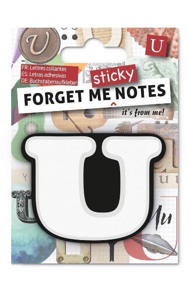 Forget Me Sticky Notes Letter U