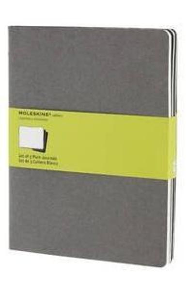 Moleskine Soft Grey Plain Cahier Extra Large Journal (3 Set)