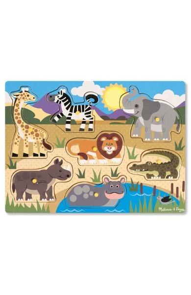 Peg puzzle, Safari. Puzzle din lemn, Animale Safari