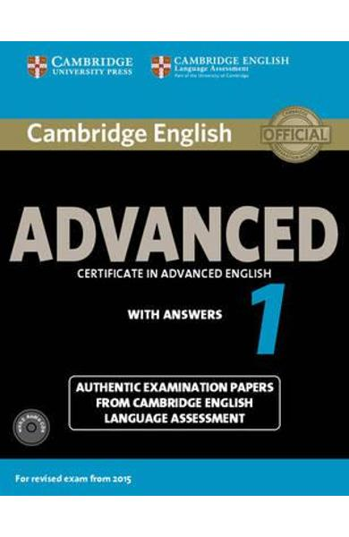 Cambridge English Advanced 1 for Revised Exam from 2015 Stud
