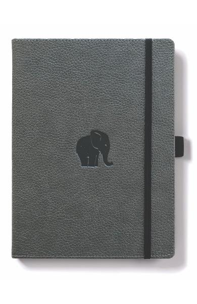 Dingbats* Wildlife A5+ Grey Elephant Notebook - Plain