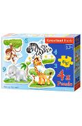 Puzzle 4 In 1. African Animals