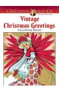 Creative Haven Vintage Christmas Greetings Coloring Book - Marty Noble