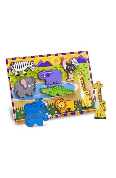 Chunky Puzzle, Safari animals. Puzzle lemn in relief, Safari