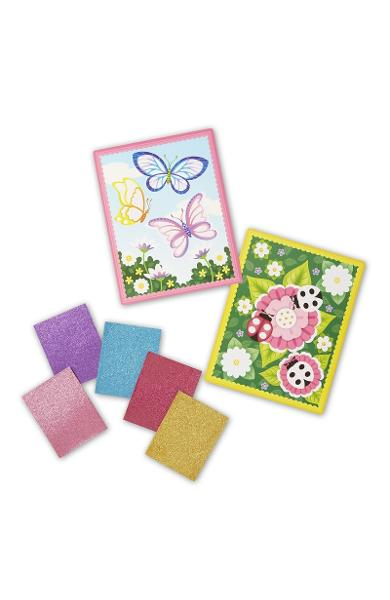 Mess-free Glitter, Flower and butterfly scenes. Fluturi si flori