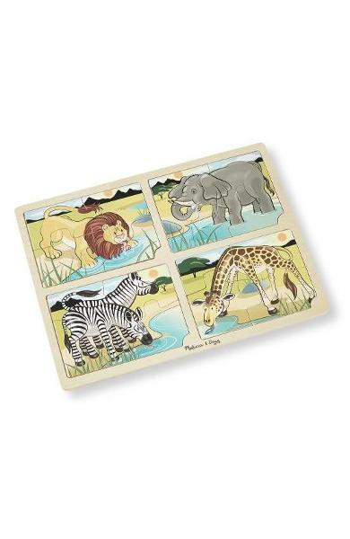 4 in 1 Jigsaw puzzle. Set 4 puzzle lemn, Safari