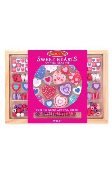 Bead set, Sweet hearts. Set margele din lemn, Inimioare